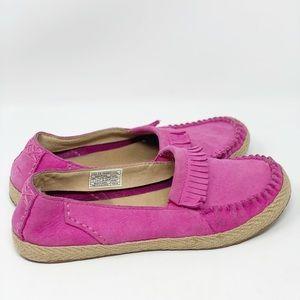 UGG Bright Pink Marrah Suede Loafer Moccassins